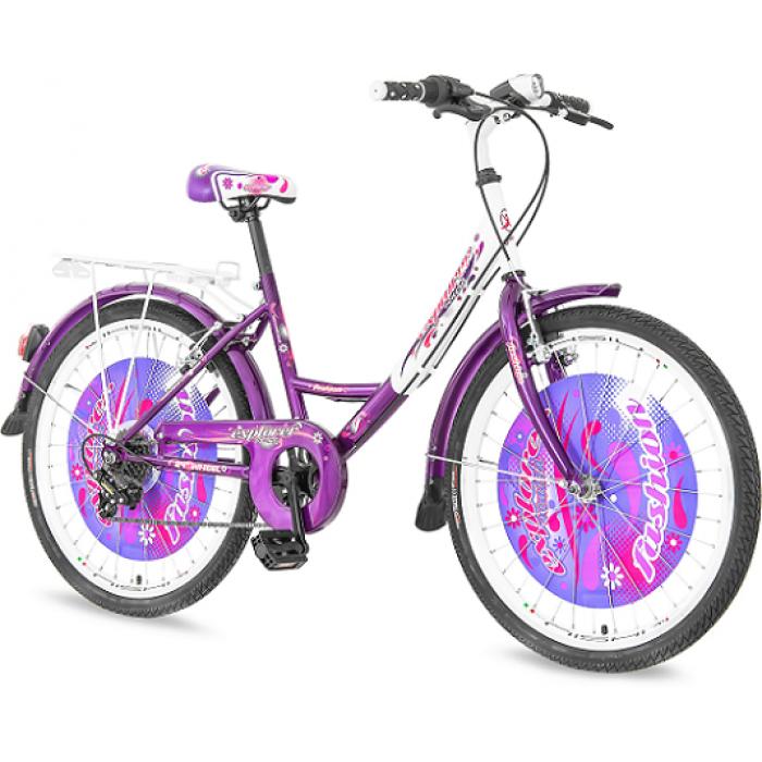 "Bicikl Explorer Fashion Belo Ljubiasto Roze 24""/14"""