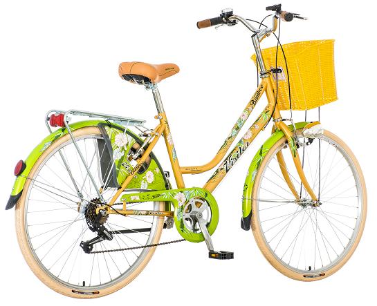 "Bicikl Visitor Fashion Bamboo Zeleno Zuto Beli 26""/17"""