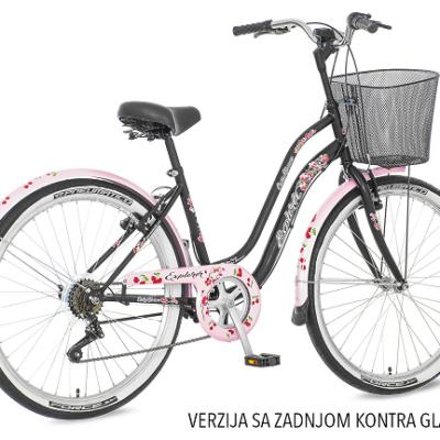 "Bicikl Explorer Cherry Blossom Roze Crni 26""/18"" sa Zadnjom Kontra Glavom"