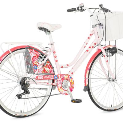 "Bicikl Visitor Polka Dot Roze Bela 26""/17"" 6 Brzina"
